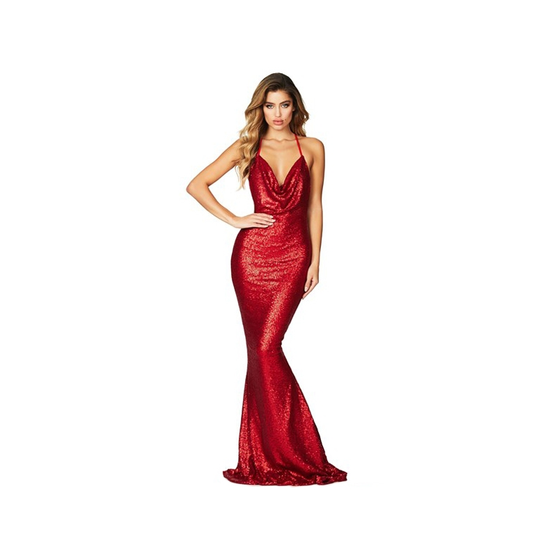 robe longue rouge sequin